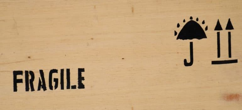 fragile sign on wooden box