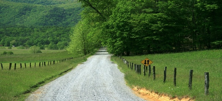 Basic info about moving to Kingston Springs - a road in a Tennesse countryside