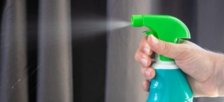 Spraying alchohol