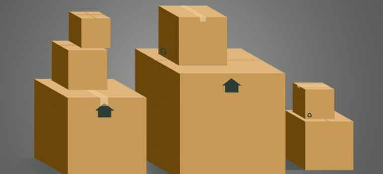 cardboard boxes - pack your bathroom before moving